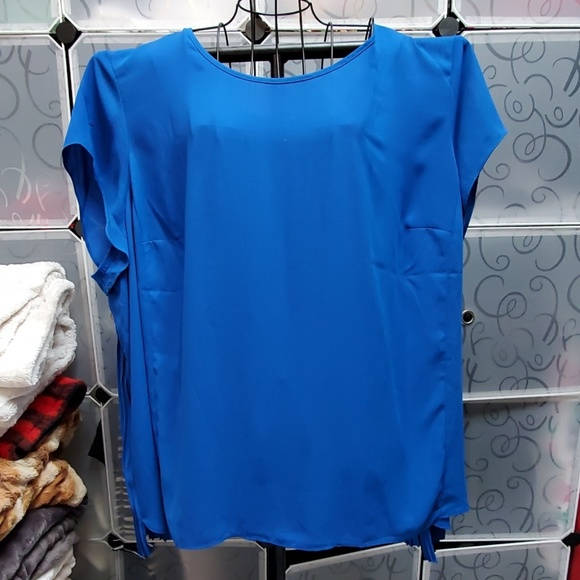 The Limited Tops - Blue cap sleeve micropleat blouse 3X
